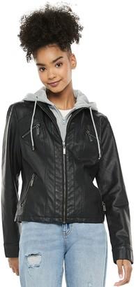 Joujou Juniors' Jou Jou Faux Leather Jacket with Lightweight Fleece Hood