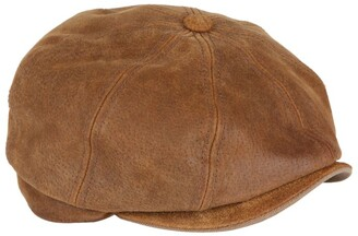 Stetson Burney Worn Leather Flat Cap