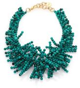 Nest Beaded Fringe Turquoise Necklace