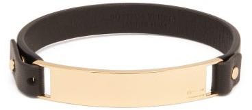 Bottega Veneta Logo Engraved Plaque Leather Bracelet - Mens - Black