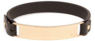 Bottega Veneta Logo-engraved Plaque Leather Bracelet - Mens - Black