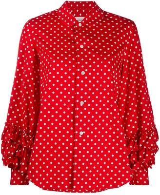 COMME DES GARÇONS GIRL Polka Dot Print Ruffle Trim Shirt