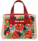 Miu Miu Floral Embroidered Bamboo Tote Bag