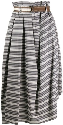Brunello Cucinelli Striped Asymmetric-Hem Skirt