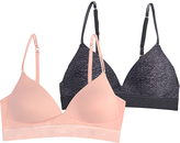Danskin Heather Black & Pink Clay Convertible Bralette Set