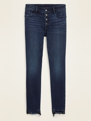 Old Navy Mid-Rise Button-Fly Rockstar Super Skinny Cut-Off Ankle Jeans for Women