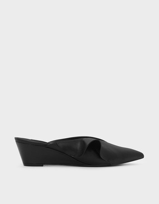 Charles & Keith Ruffle Detail Low Wedge Mules