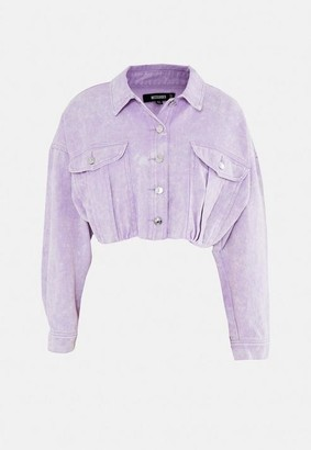 Missguided Purple Cropped Denim Jacket