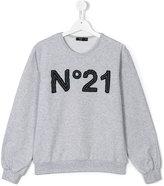No21 Kids - teen logo patch sweatshirt - kids - Cotton/Spandex/Elastane - 13 yrs