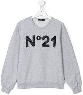 No21 Kids - teen logo patch sweatshirt - kids - Cotton/Spandex/Elastane - 14 yrs