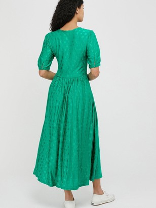 Monsoon Janet Jacquard Midi Dress - Green