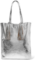 Loeffler Randall Tasseled Metallic Textured-leather Tote - Silver