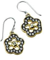 Element Sterling Silver Ladies' E3980C Black Rhodium with Pave Cubic Zirconia Flower with Gold Plate Ridge Earrings