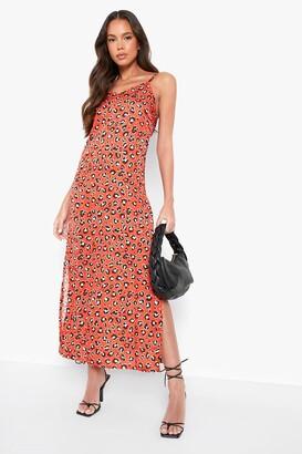 boohoo Woven Leopard Maxi Slip Dress