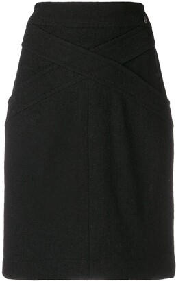 Chanel Pre-Owned crisscross detail fitted skirt