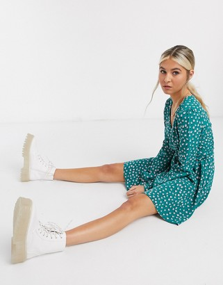 Glamorous Curve ditsy floral mini long sleeve swing dress in teal