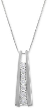 Macy's Diamond Accent Ladder Pendant Necklace in 10k Gold or White Gold