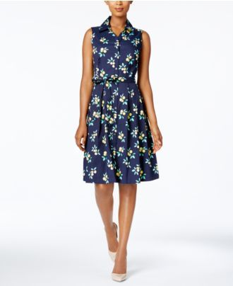 Charter Club Printed Fit & Flare Shirtdress, Created for Macy's