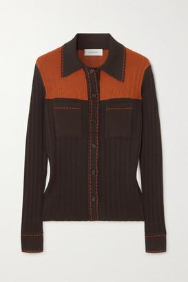 Wales Bonner Two-tone Ribbed-knit Shirt - Brown