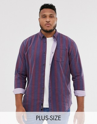 ONLY & SONS vintage wash striped shirt in red