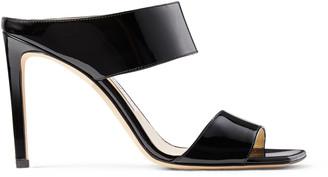 Jimmy Choo HIRA 100 Black Soft Patent Leather Mules
