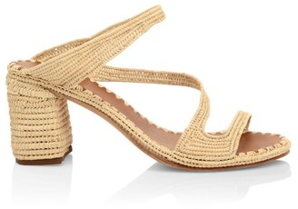 Carrie Forbes Naturel Raffia Block Heel Sandals