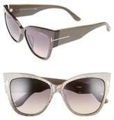 Tom Ford Women's Anoushka 57Mm Special Fit Butterfly Sunglasses - Dove Grey/ Grey Gradient Sand