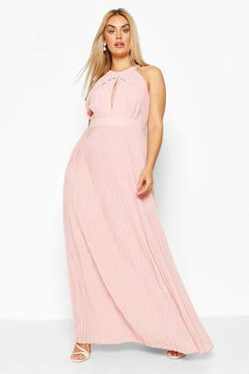 boohoo Plus Bridesmaid Pleated Maxi Dress