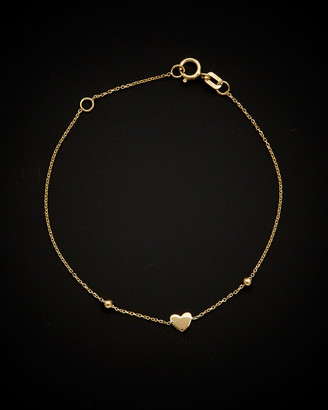 Italian Gold 14K Heart Beaded Adjustable Baby Bracelet