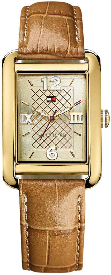 Tommy Hilfiger Women's Camel Croco-Embossed Leather Strap Watch 27mm 1781407