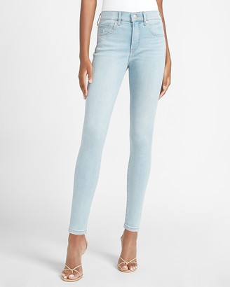 Express Mid Rise Denim Perfect Light Wash Skinny Jeans