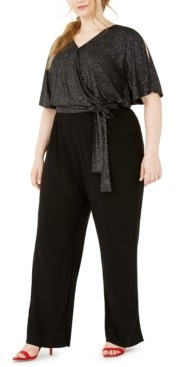 NY Collection Plus Size Sparkle Tie-Waist Jumpsuit