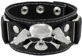 Zeckos Winged Skull Leather Wristband Biker Punk