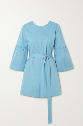Tibi Belted Organic Cotton-poplin Playsuit
