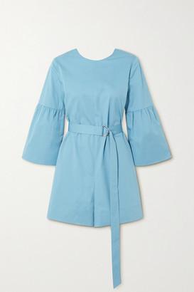 Tibi Belted Organic Cotton-poplin Playsuit - Blue