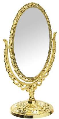 """Online 11.4"""" Double Sided Table Top 360 Degree Antique Oval Vintage Desktop Stand Vanity Make Up Mirror"""