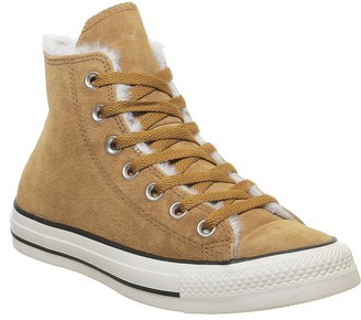 Converse All Star Hi Trainers Burnt Sienna Shearling Exclusive