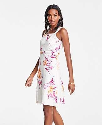 Ann Taylor Petite Floral Cutout Square Neck Sheath Dress