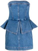 Philosophy di Lorenzo Serafini denim peplum-waist dress