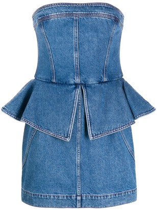 Philosophy di Lorenzo Serafini Denim Peplum-Waist Dress