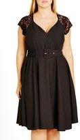 City Chic Plus Size Women's Lace Sleeve Belted Fit & Flare Dress