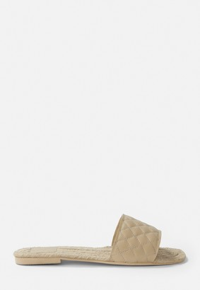 Missguided Nude Quilted Flat Espadrille Slip On Sandals