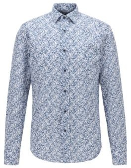 HUGO BOSS Slim Fit Shirt In Floral Print Cotton And Linen - Dark Blue