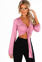 Pink Boutique Polka Princess Pink Polka Dot Tie Front Crop Top
