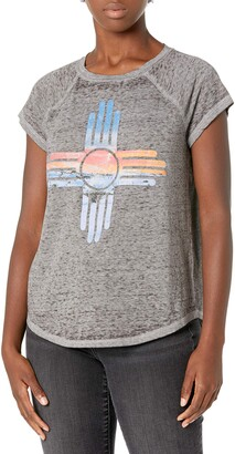 William Rast Women's Regina Raglan Short Sleeve Graphic Tee Shirt