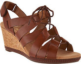 Clarks As Is Leather Lace-up Wedge Sandals - Helio Mindin