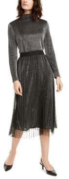 Alfani Petite Swiss-Dot Metallic Midi Skirt, Created For Macy's