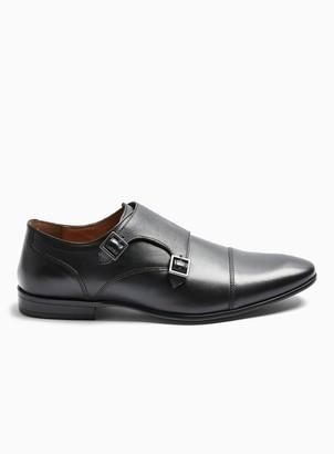 Topman Black Leather Bright Monk Shoes