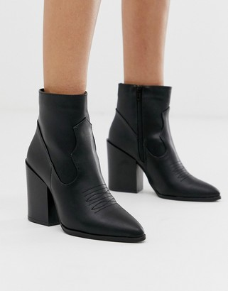 Truffle Collection heeled western boots in black