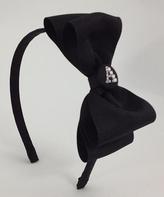 Black Rhinestone Initial Bow Headband